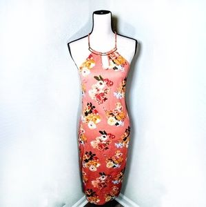 TIMING flowered classy and sexy dress peach